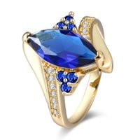 Wholesale Australia Animal - New Fashion 925 Silver Plated gemstone jewelry Horse eye Dark blue USA Australia Zircon Ring R0217
