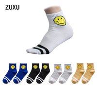Wholesale Japanese Over Knee Socks - 2017 new men and women lovers socks Japanese smile short tube socks art school wind