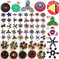 Wholesale Iron Man Hands - 300types Rainbow Fidget spinner metal double hand spinners Super hero Captain America Shield Iron Spider man hulk Retro spinning top toys