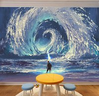 Wholesale custom paint design - Sea Wave Mural Renovate Wall Abstract Painting Summoned the Sea Tornado Home Decoration Creative Personalized Custom 3D Wallpaper Poster