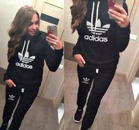 Wholesale women costume clothes online - 2019 Hot Women Sport Suits Printed Fall Tracksuits Long sleeve Casual Sportwear Costumes Piece clothing set Hoodies Sweatshirt
