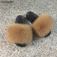 Wholesale Spring Gloves Women - Jancoco Max 2017 Real Fox Fur Slippers Women Fashion Sliders Spring Summer Autumn Fur Slides Indoor Outdoor Flat S60GLOves18