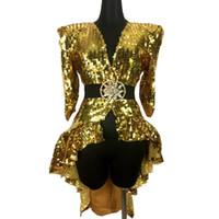 ropa sexy de rendimiento al por mayor-Club nocturno Bar Ds traje sexy lentejuelas plateadas de oro falda de cola Cantante Jazz Dance Team Ropa Dj Performance Stage Wear