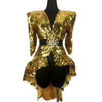 weibliche sänger performance kleidung großhandel-Nachtclub Bar Frau Ds Sexy Kostüm Gold Silber Pailletten Schwanz Rock Sänger Jazz Dance Team Kleidung Dj Performance Stage Wear