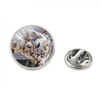 gafas de jirafa al por mayor-2018 Nueva Llegada de Moda Estilo de Moda Sunset Mountain Giraffe Silver Glass Round Cabochon Pin de la Solapa Mano Artesanía Joyería Metal Pin