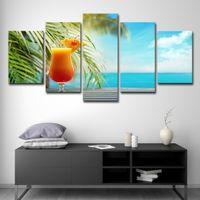 peintures marines tropicales achat en gros de-HD Prints Toile Décor À La Maison Cuisine Mur Art Affiches 5 Pièces Fruit Drink Peintures Tropicale Plage Paysage Marin Photos