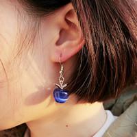 Wholesale Opal Earings - Sweet Pink Opal Stone Apple Shape Charm Statement Earrings For Women Girl Lovely Cute Fashion Stud Earings Jewelry Lover Gifts Wholesale