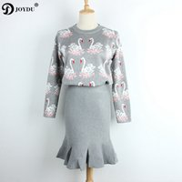 Wholesale pencil skirts dresses office - JOYDU Runway Sweater Dress 2 Piece Set Women Tracksuit 2017 Winter Office Lady Twinset Swan Chic Tops Pencil Skirt Suit Outfits