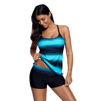 Wholesale plus size strappy swimwear for sale - Blue Black Ombre Strappy Back Tankini Swim Top High Elasticity Beach Swimwear Plus Size XL