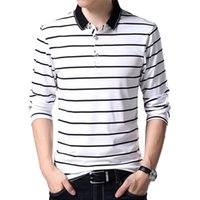 Wholesale polo white stripe for sale – custom Slim Casual New Long Polo Men Shirt Cotton Fashion Breathable Slim Stripes Polo For Men High Quality Clothing M xl