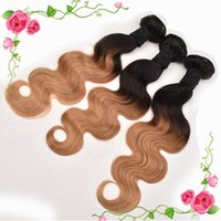 Wholesale Honey Blonde Indian Remy Hair - Ombre Brazilian Hair Weave Body Wave 100g Bundle 3Bundles Lot T1B 27 2 Tons Color Honey Blonde Peruvian Malaysian Indian Hair Extensions