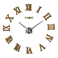 espejo diy decoración al por mayor-Oversize Eva Wall Time Clock Sticker Diy 3D Personalidad Espejo Superficie decorar Silent Clocks Home Decor Plata 26bc Ww
