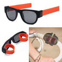 Wholesale men slapping women - Sun Glasses women Slap Sunglasses Men polarized Slappable Bracelet Wristband Fold Shades Fashion Mirror Oculos Colorful GGA134 10PCS