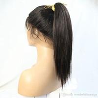 perruque longue cheveux lisses 34 achat en gros de-Cheveux synthétiques longs et droits longue perruque Cosplay sans colle et perruque en dentelle pleine perruque # 1B blonde 26 pouces 150% densité