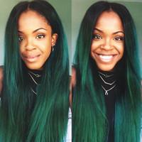 iki ton yeşil saç toptan satış-Ombre 1B Yeşil Brezilyalı Saç Örgü Demetleri 3 Parça Düz İnsan Saç Uzantıları Ön Renkli Iki Ton Koyu Kökleri Remy Saç Uzantıları
