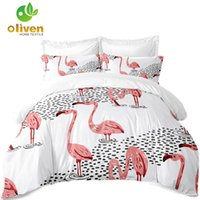 ingrosso set di biancheria da letto di lago-Animal Pink Flamingo Lake Painted Bedding Set Completo Copripiumino Bianco Twin Completo King Queen Copriletto Federa Home Decor D20