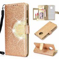 зеркальный флип кожаный чехол оптовых-Для MOTO G6 Play E5 Plus Galaxy (A7 J6 J4 Plus) 2018 Sparkle Wallet Leather Case Bling Алмазное зеркало Glitter Sparkly Flip Cover Pouch Purse