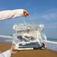 Wholesale clear transparent handbags totes - Transparent PVC Large Lock Platinum Handbag Fashion Lady Handbag Chic Ins Girls Summer Beach Bag Holiday Plastic Clear Shoulder