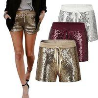 gold-schein-shorts großhandel-Sparkle Pailletten Shorts 3 Farben Sommer Kordelzug Elastische Taille Party Girls Shorts Hohe Taille Fitness Shorts OOA5655