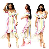 Wholesale butterfly robes - Off Shoulder V Neck Sexy Irregular Dress Summer Colored Striped Short Butterfly Sleeve Vestidos Lady Ruffles LONG Robes