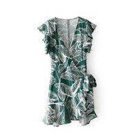 vestidos estilo mariposa al por mayor-2018 Prairie Chic Style Women 's Fall Green Leaves Print Mini vestido con cuello en v manga corta de mariposa Vestido corto de verano