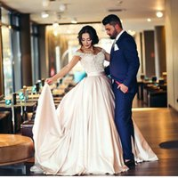 Wholesale Light Blue Silk Flowers Cheap - Champagne Arabic Evening Dresses 2018 Off-Shoulder Satin Ball Gown Prom Dresses Vintage Cheap Formal Party Gowns