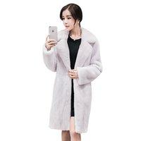 Wholesale Haining Fur - 2017 New Autumn Winter Women's Fashion Haining South Korean Fur Coat Lapel Medium Long Mink Warm Fur Coat
