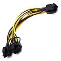 8pin adaptör kablosu toptan satış-Sıcak satış 6pin çift 8pin (6 + 2) Y Splitter Adaptörü Bağlayıcı güç kablosu 18AWG tel grafik kartı için yapılmış LX2301