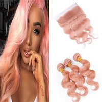 Wholesale blonde roses - Light Pink Lace Frontal with Bundles Rose Gold Pink Body Wave Malaysian Human Hair Weaves with Full Frontal Lace Closure