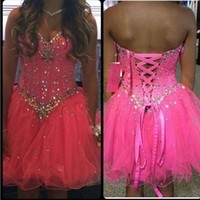 Wholesale crystal light candy for sale - Group buy Cheap Cute Candy Pink Mini Short Homecoming Dresses Sweetheart Tulle Lace Up Party Dress New Graduation Dresses