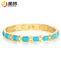 Wholesale Magnetic Healing - Trendy Powerful Magnetic Copper Bracelet Gold Plated Turquoise Healing Bio Bangle Wristband for women men Charm gift Wholesale