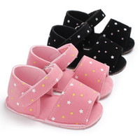 Wholesale wholesale shoe soles for babies - 0 T Baby Girls cloth sandals cute infants stars printing summer shoes colors soft sole first walkers for toddlers B11