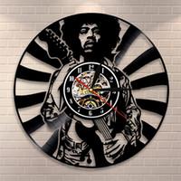 ingrosso vinile per artigianato-Jimi Hendrix Orologio da parete Vinile Soggiorno Camera da letto Orologi Retro Nostalgia Nero Moderno fatto a mano Artigianato regalo Home Decor 63qm bb