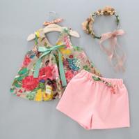 Wholesale Top Wholesale Children Boutique Clothing - Girls floral tank vest tops+shorts 2pcs set girl's outfits children bowknot suit kids summer boutique clothes