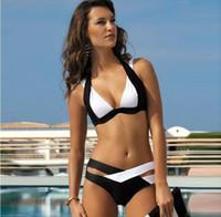 bikinis nouveaux styles achat en gros de-2018 Nouveaux styles Bikini Set Femmes Dames Sexy Noir et Blanc Maillot De Bain pour les femmes Bandage Biquinis Maillot De Bain S-XL, CH-YH003