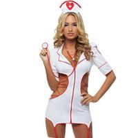 uniforme de enfermería lencería al por mayor-Nuevo diseño mujeres lencería sexy disfraces eróticos enfermera Cosplay uniforme vestido lado hueco ropa interior siamesed erótica ropa interior