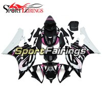 ingrosso kit corpo yamaha r6 bianco-Carenature complete moto Black White With Star Decals per Yamaha YZF600 R6 YZF-R6 Anno 2006 2007 Kit moto moto ABS Sportbike Nuovo