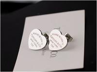 ingrosso contenitore di monili del cuore del metallo-Alta qualità Celebrity design Donna Lettera 925 Argenteria Orecchini Moda metallo a forma di cuore gioielli orecchino con scatola