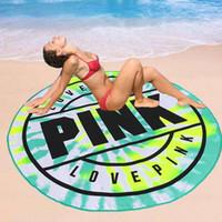 toallas absorbentes de secado rapido al por mayor-2018 New Pink VS Secret Round Toalla de playa Microfibra suave 150 cm Absorbente de secado rápido Baño de natación Toallas de playa Manta para picnic