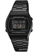 Wholesale Retro Illuminator Digital Black Stainless Steel M B640WB AEF Watch New Gasio