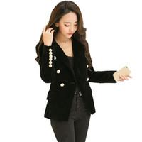 senhoras ouro blazers venda por atacado-2018 Outono Velet Blazer Feminino Jaqueta Mulheres Full Sleeve Feminino Botão de Ouro Chaqueta Mujer Senhoras Blazers Outwear ow0247