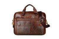 Wholesale briefcase for sale - New Men Briefcases Genuine Leather Handbag Vintage Laptop Briefcase Messenger Shoulder Bags Men s Bag