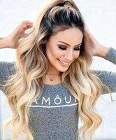 ingrosso lunghe parrucche colorate-100% capelli umani vergini remy non trattati # 1bt613 colore ombre lunghi capelli colorati parrucca superiore in pizzo