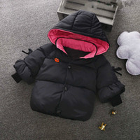 ingrosso principessa ragazza giù cappotto-Vestiti invernali per bambini Cotton Down Baby Jacket Ragazze Solid Hooded Princess Thick Warm Parka Kids Snow Wear Capispalla Coat