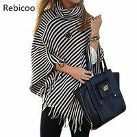 poncho pullover schwarz weiß großhandel-Rollkragen gestreiften Ponchos und Capes Long Damen gestrickte Cape Poncho Femme Damen V-Ausschnitt Pullover BlackWhite