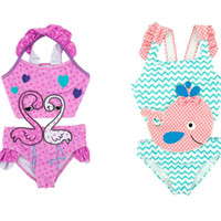 Wholesale girl dolphins - Ins fashion hot selling girl kids one piece Romper bikini summer girl cute Polka Dots Dolphin Print Swimming 2 styles free ship