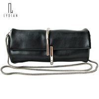 Discount hand shaped clip - Lydian 2018 New Round Mini Clutch Bag New Horse Fur Hand Bag Leather Clip Bags Catch Closed Shoulder Mini Chain Messenger Valise