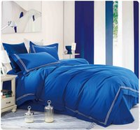 Wholesale Hotel Duvet Covers - Wholesale- 100% cotton Embroidery luxurious hotel bedding sets 4pcs queen king bedlinen bedclothes blue comfortable