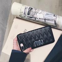 iphone wave back case toptan satış-Lüks Marka 3D Çiçek Desen Deri Arka Kapak Kılıf Kılıf 3D Dalga Doku Telefonu Kabuk Basit Stil iPhone X 6 s 7 Artı