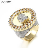 Wholesale gold jewellery ring man for sale - VANAXIN Wide Men Rings Praying Hand CZ Crystal Paved Bling Bling Punk Big Vintage Ring Men Hip Hop Jewellery Gold Color Gift Box